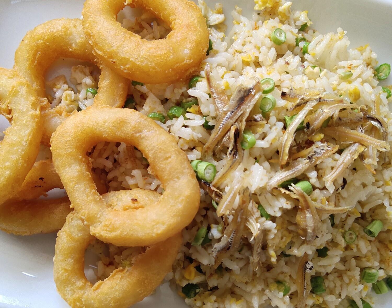 Nasi Goreng kampung Sotong Tempura
