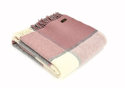 Lifestyle Throw Block Check 150 x 183cms Charcoal and Dusky Pink