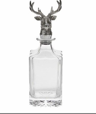 Glass Decanter With Stags Head