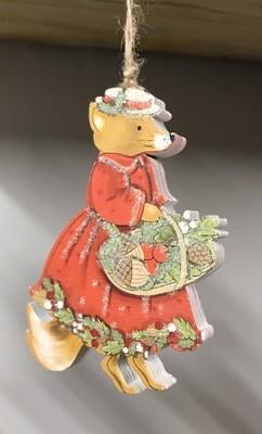 Mrs Mouse Christmas Hanging Decoration