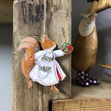 Mrs Squirrel Christmas Hanging Decoration