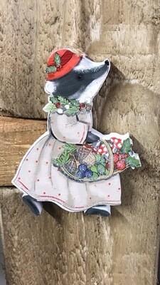 Mrs Badger Christmas Hanging Decoration