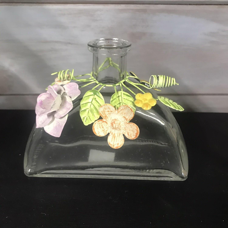 Vintage Style Glass Jar With Metal Flowers