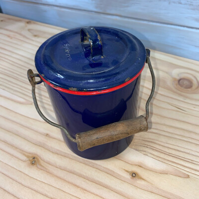 Blue Vintage Enamel Pot