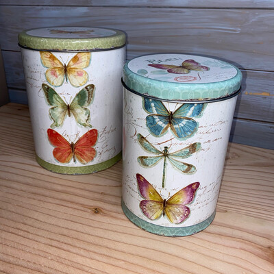 Butterfly Enamel Storage Tins