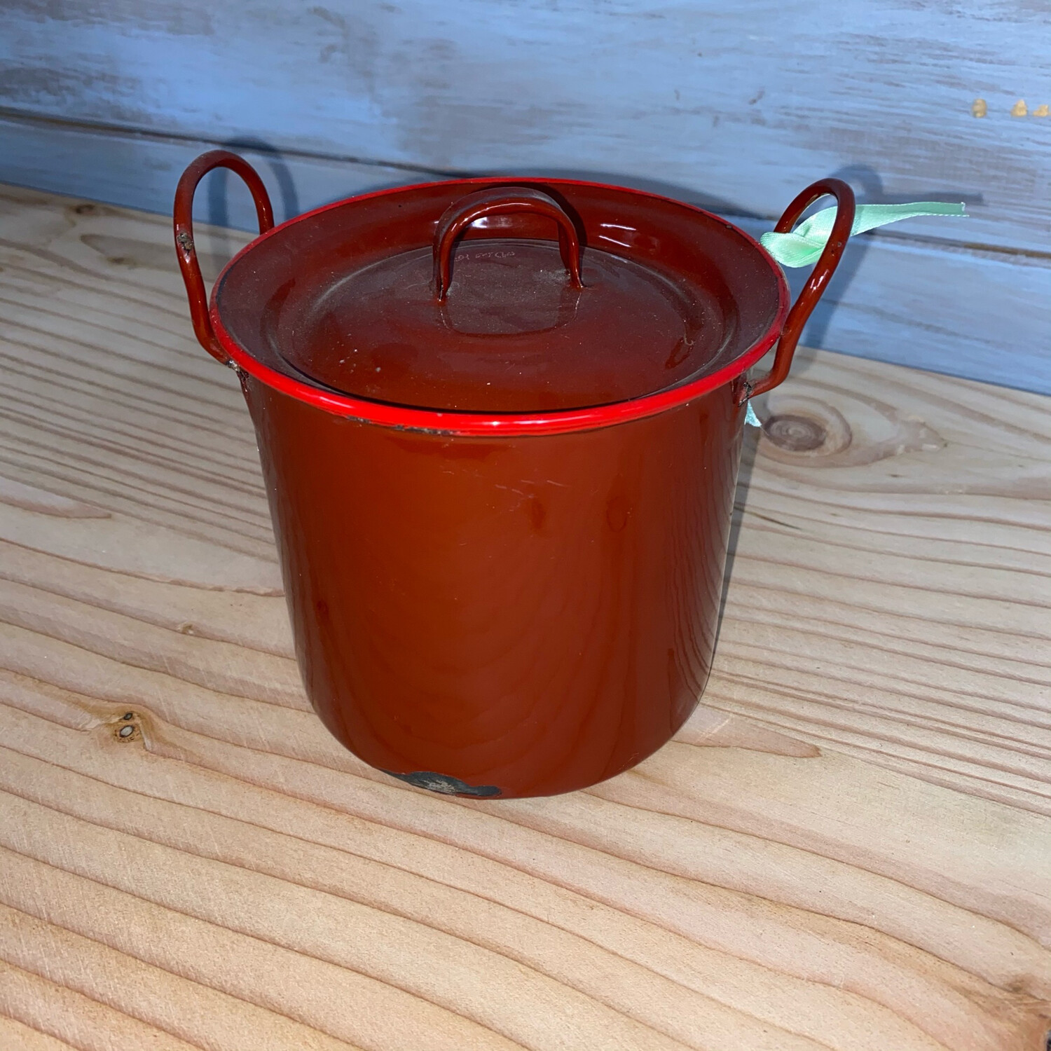 Red Enamel Vintage Pot with Lid