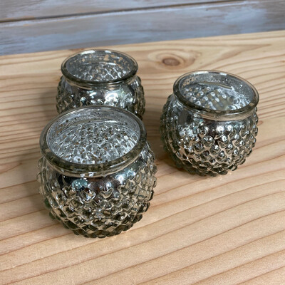 Set of 3 Silver Glass Tealights