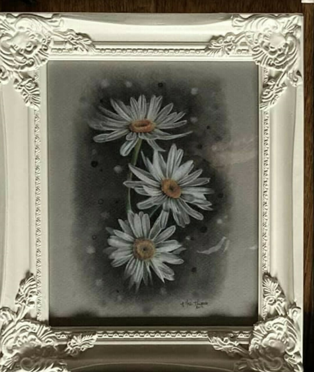 Gorgeous Original Painting of White Daisies