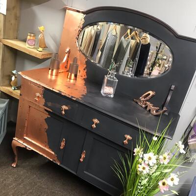 Vintage Black & Copper Sideboard