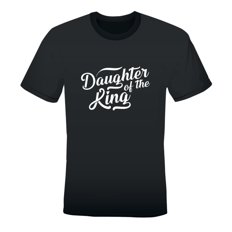 'DAUGHTER OF THE KING' LADIES PRINTED T-SHIRT (BLACK)