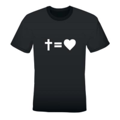 'CROSS EQUALS LOVE' MEN'S PRINTED T-SHIRT (BLACK)