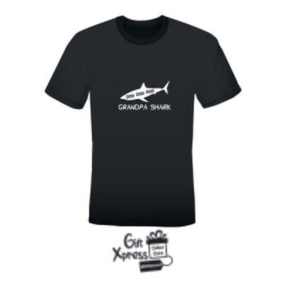 'GRANDPA SHARK' MEN'S PRINTED T-SHIRT (BLACK)