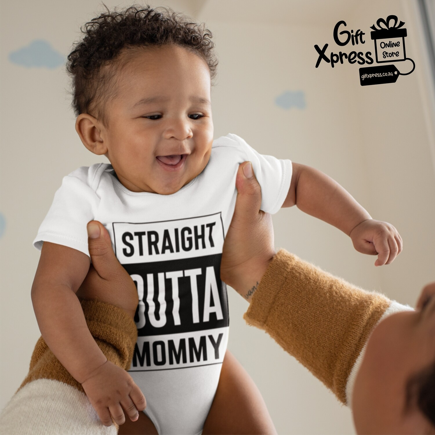 'STRAIGHT OUTTA MOMMY' BABY GROWER (WHITE)