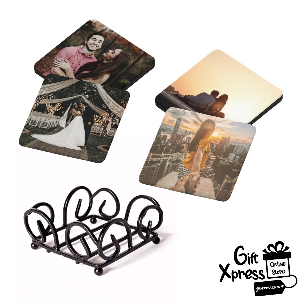 SET OF 4 CUSTOMIZED WOODEN COASTERS WITH A COASTER RACK