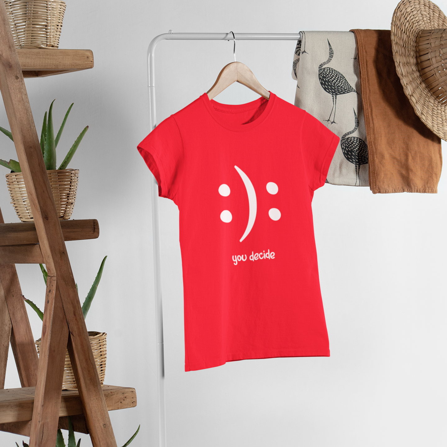 'YOU DECIDE' LADIES PRINTED T-SHIRT (RED)