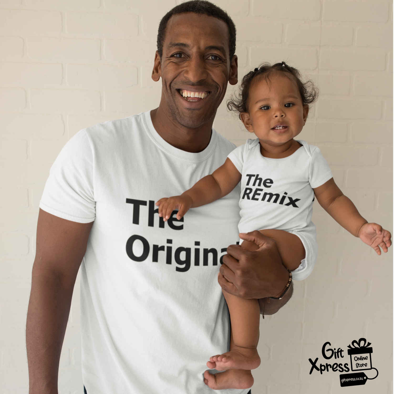 THE ORIGINAL & THE REMIX T-SHIRT & BABY GROWER SET (WHITE)