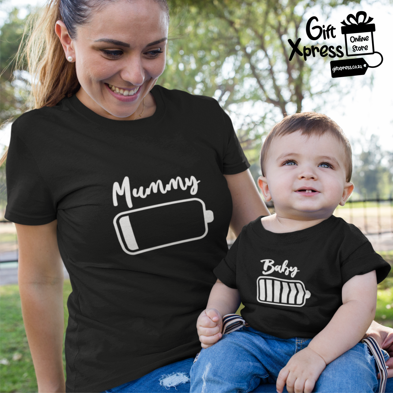 MUMMY & BABY BATTERY LEVEL T-SHIRTS (BLACK)