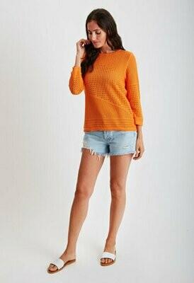 Crew-Neck Pointelle Sweater