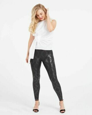 Faux Leather Brocade Legging
