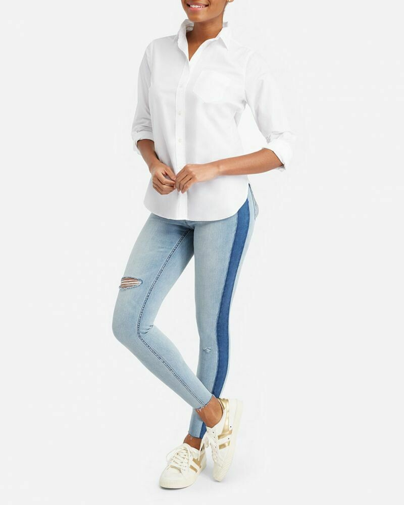 Side Stripe Distressed Skinny Jeans