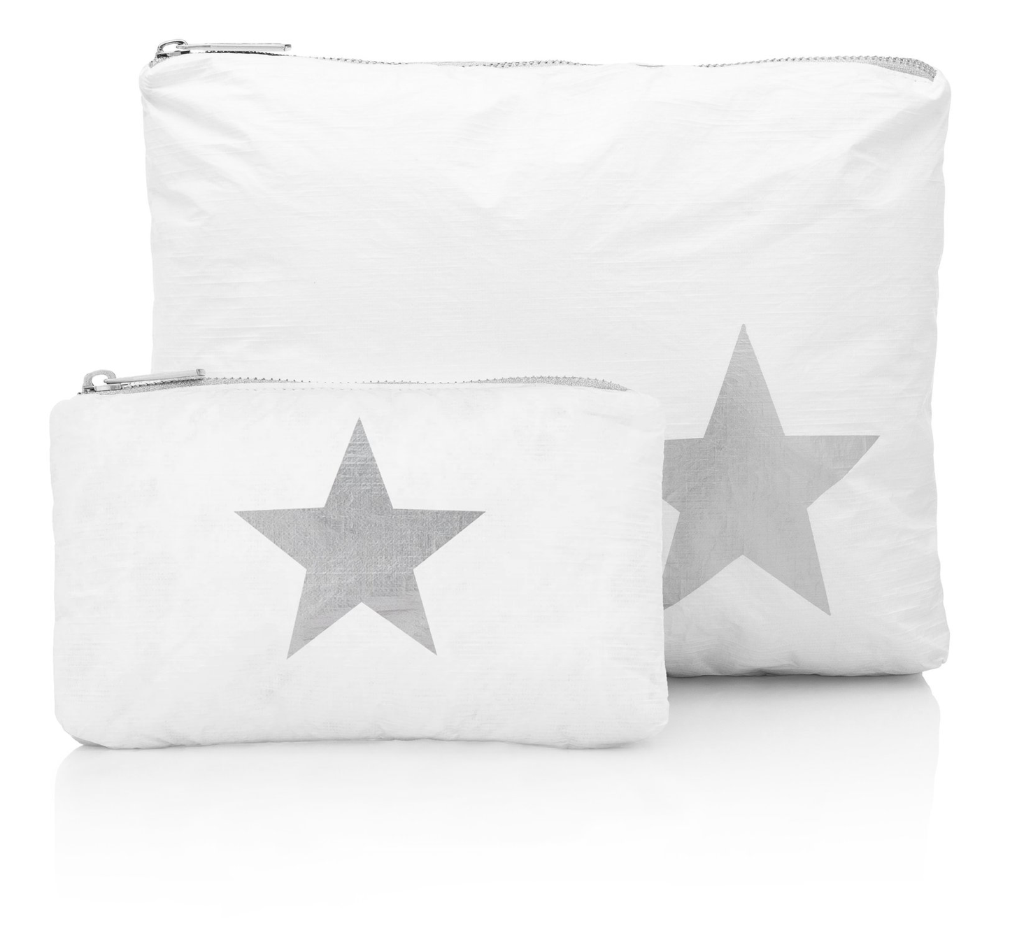 2PC. White with Silver Heart