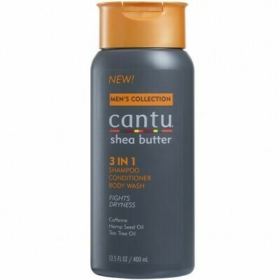 CANTU MEN'S COLLECTION SHEA BUTTER 3 IN 1 SHAMPOO, CONDITIONER, BODY WASH 13.5oz