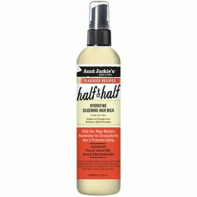AUNT JACKIE'S CURLS & COILS FLAXSEED RECIPES HALF & HALF HYDRATING SILKENING HAIR MILK 12oz