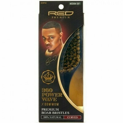 RED BY KISS 360 POWER WAVE X BOW WOW PREMIUM 100% BOAR BRISTLES CURVED CLUB BRUSH - MEDIUM SOFT #BORP02