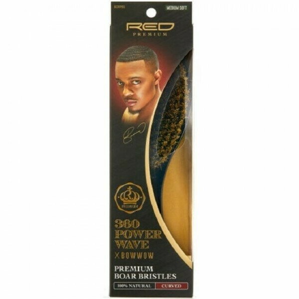 RED BY KISS 360 POWER WAVE X BOW WOW PREMIUM 100% BOAR BRISTLES CURVED WAVE BRUSH - MEDIUM SOFT #BORP03