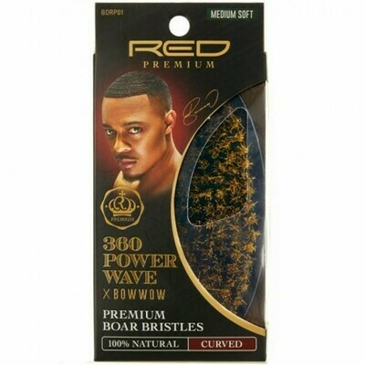 RED BY KISS 360 POWER WAVE X BOW WOW PREMIUM 100% BOAR BRISTLES CURVED PALM BRUSH - MEDIUM SOFT #BORP01