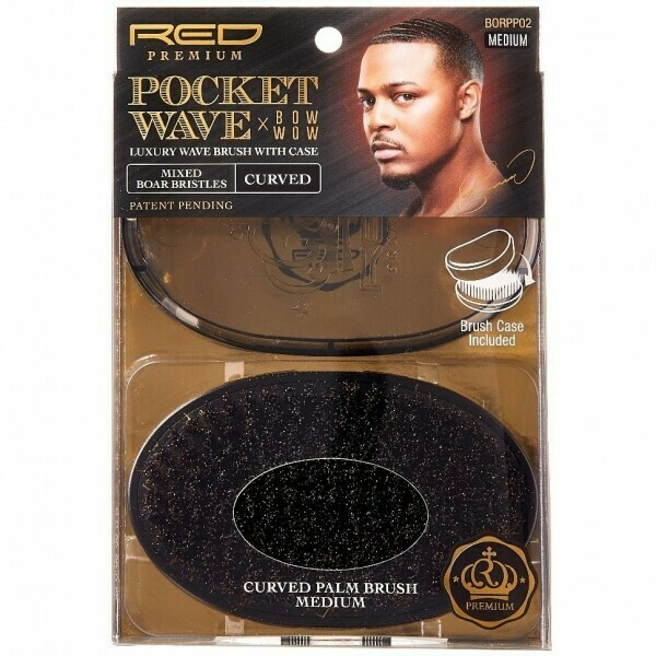 RED BY KISS POCKET WAVE X BOW WOW MIXED BOAR BRISTLES CURVED WAVE BRUSH WITH CASE - MEDIUM #BORPP02