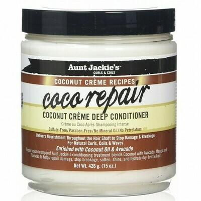 AUNT JACKIE'S CURLS & COILS COCONUT CREME RECIPES COCO REPAIR DEEP CONDITIONER 15oz