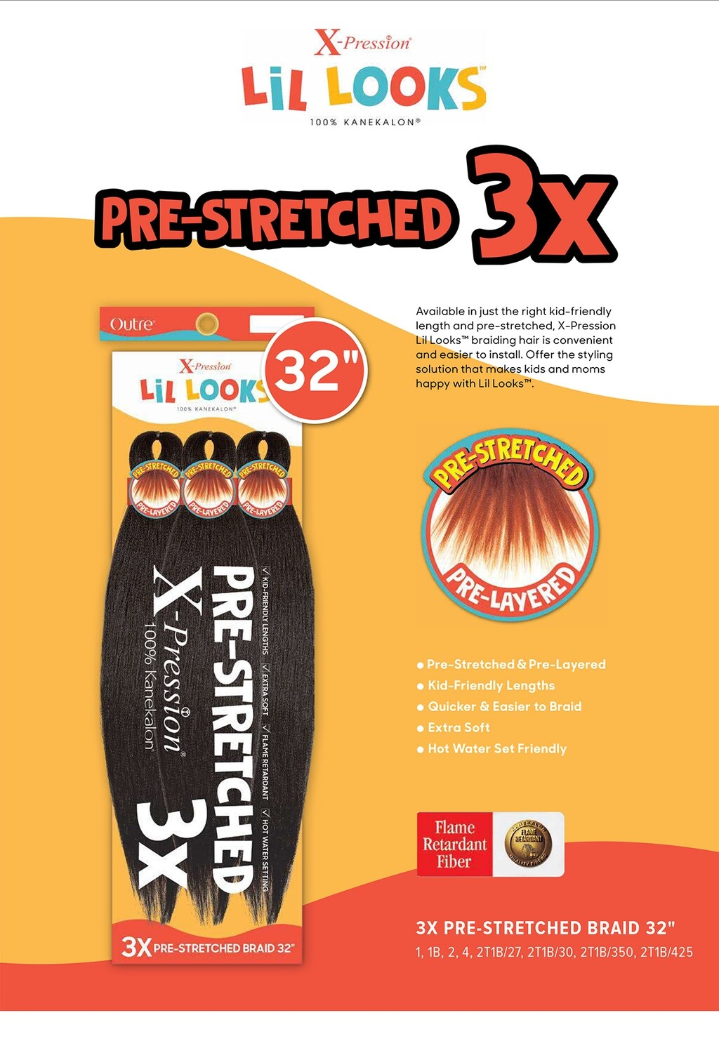 """OUTRE X-PRESSIONS LIL LOOKS 3X PRE-STRETCHED BRAID 32"""" (KIDS)"""
