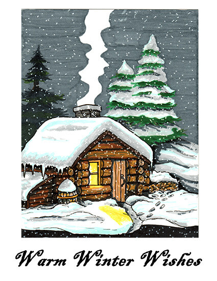 Warm Winter Wishes - Blank - Single Card