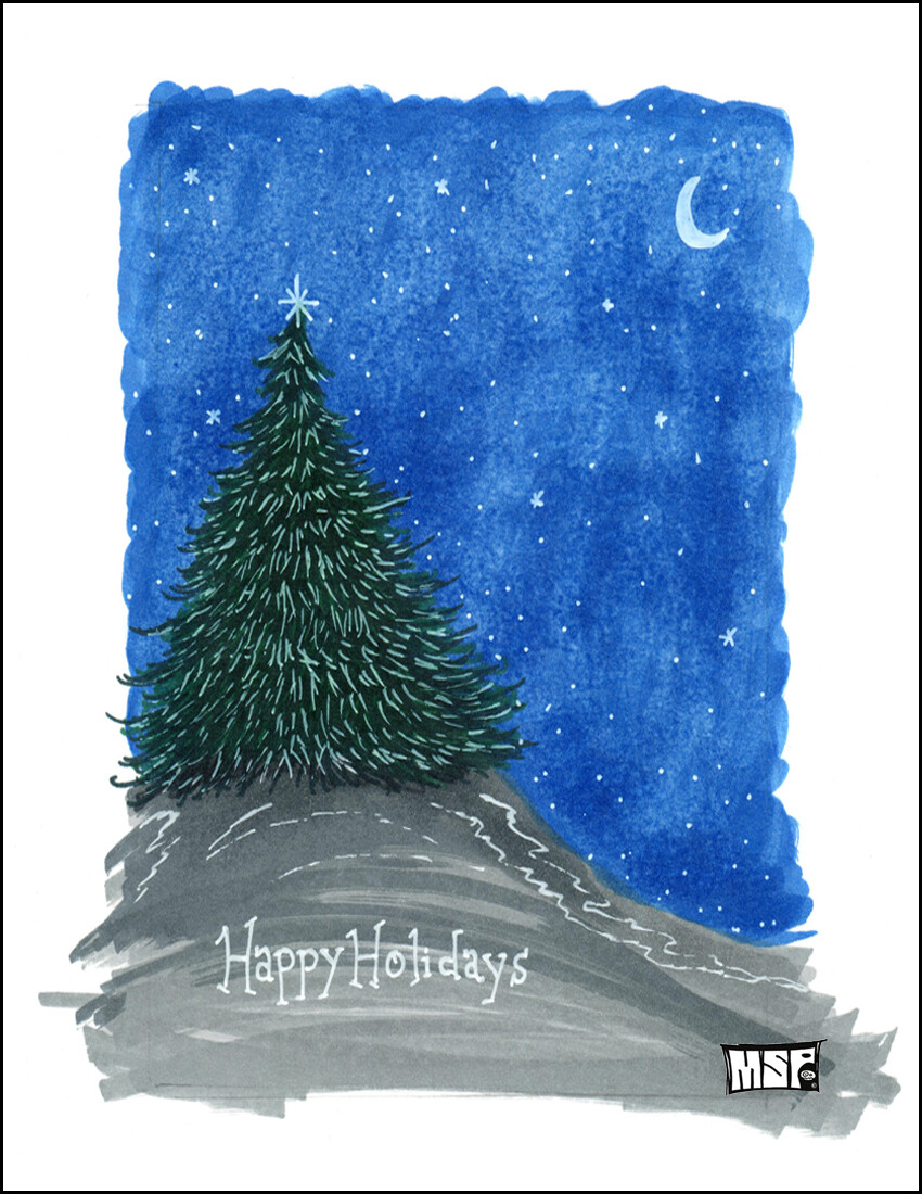Happy Holidays Tree - Blank - Single Card