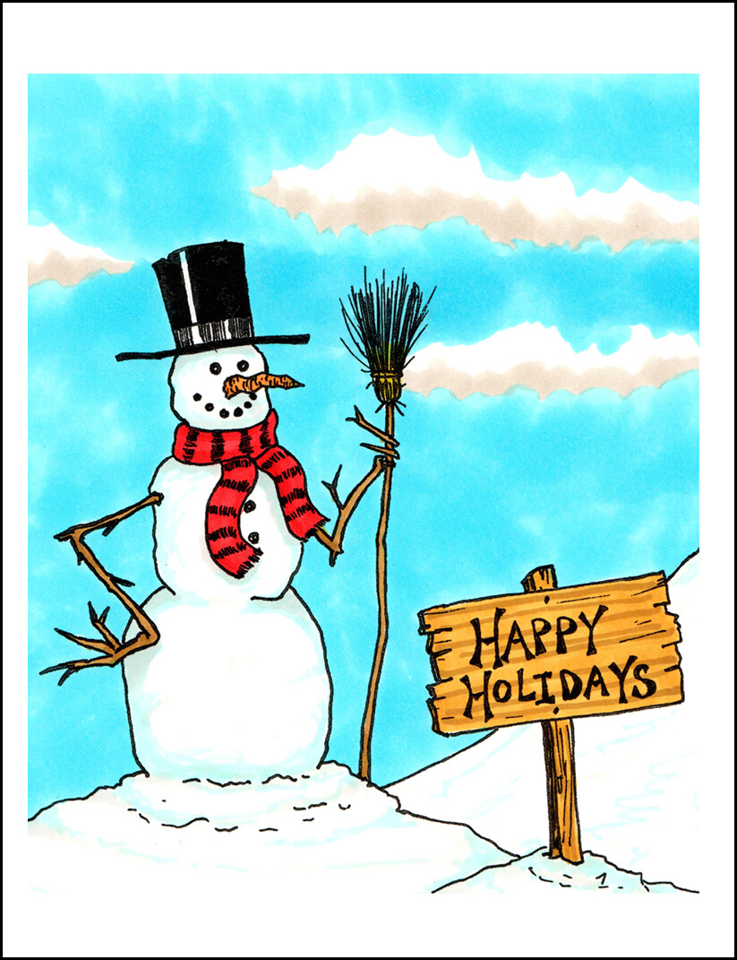Happy Holidays Snowman - Blank - Single Card
