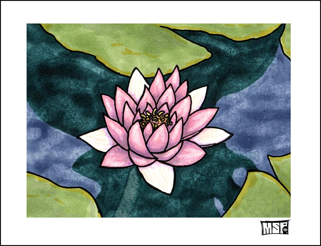 Lotus Flower - Blank - Single Card
