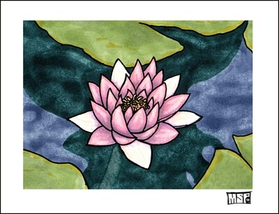 Lotus Flower - Blank - Single Card