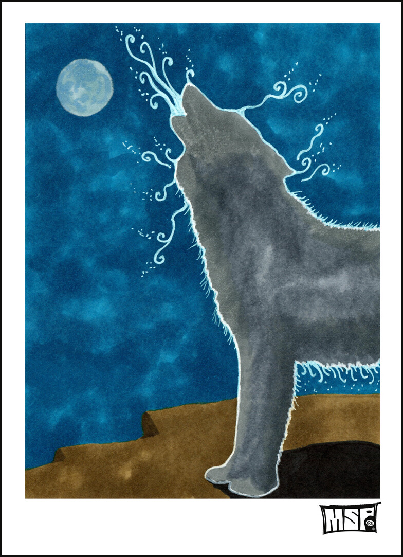 Wolf Howl- Blank - Single Card