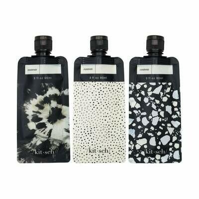 Refillable Travel Pouch 3pc Set - Black & Ivory