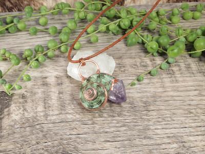 Amethyst & Seashell Pendant ǀ Unique Seashell Jewelry