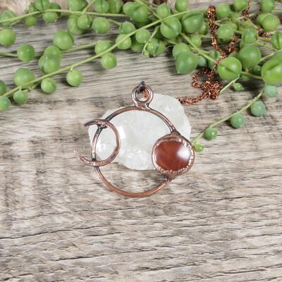 Strawberry Moon & Crescent Pendant ǀ Red Jasper Pendant Necklace