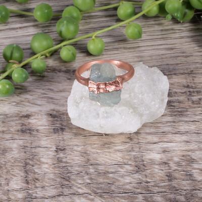 Milky Aquamarine Stone Ring ǀ Raw Aquamarine Ring