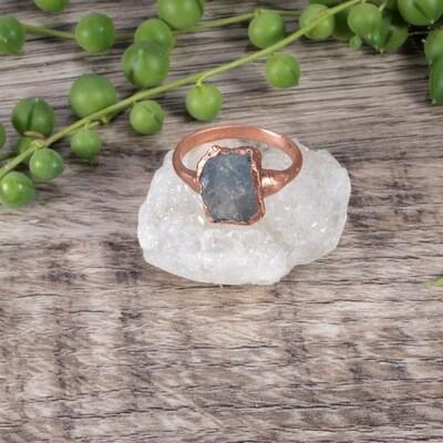 Rectangle Aquamarine Stone Ring ǀ Natural Aquamarine Ring
