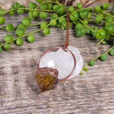 Citrine Pendant Necklace ǀ Citrine Stone Necklace