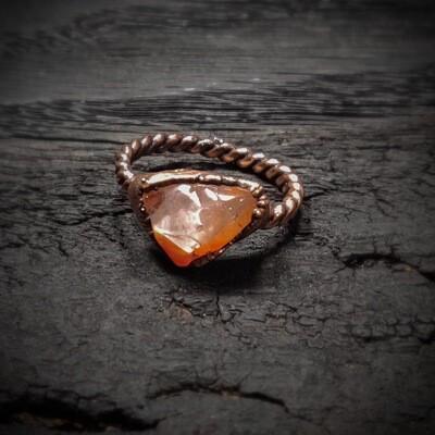 Pale Orange Carnelian Ring ǀ Carnelian Triangle Stone Ring