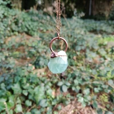 Blue Calcite Pendant ǀ Raw Rough Calcite Pendant Necklace