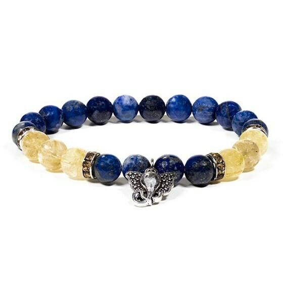 Bracelet Ganesh et perles en pierres véritables de Lapis lazuli et Quartz rutilé