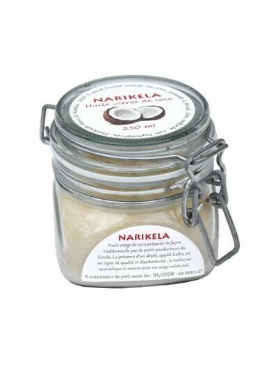 HUILE DE COCO - NARIKELA  pot de 250 ml Pressage à froid, non raffinée, extraction sans solvants...