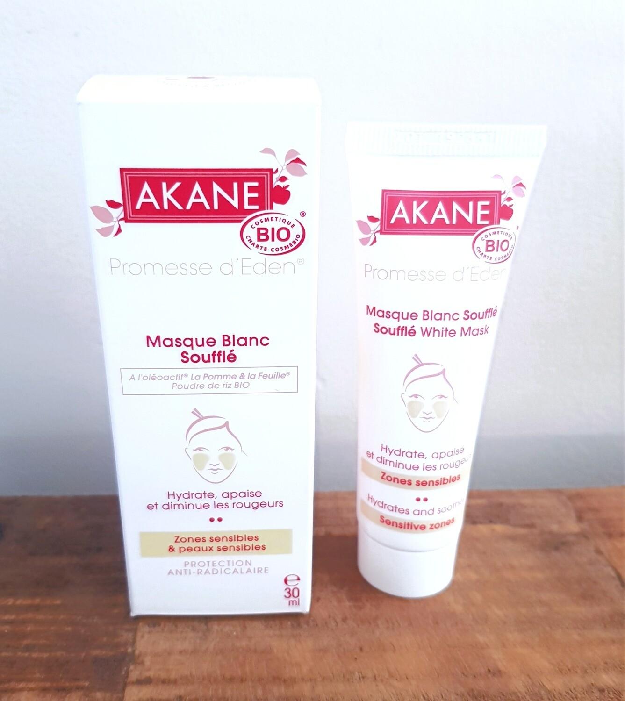 Masque blanc soufflé Bio - AKANE Tube de 30 ml Apaise les sensations de tiraillements et les rougeurs